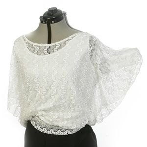White Lace Blouse with Cami Butterfly Sleeve Sz XL